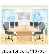 Office Boardroom Interior With A Meeting Table And Chairs