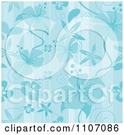Seamless Blue Hibiscus Pattern Background
