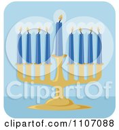 Chanukah Menorah With Blue Lit Candles