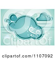 Clipart Turquoise Cloud With Vines Sparkles And Circles Royalty Free Vector Illustration by Character Market