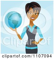 Clipart Happy Black Businesswoman Holding A Globe And Standing Over Blue With Waves Royalty Free Vector Illustration by Amanda Kate #COLLC1107094-0177
