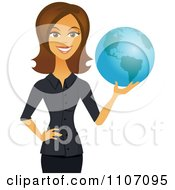 Clipart Happy Brunette Businesswoman Holding A Globe Royalty Free Vector Illustration