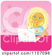 Clipart Happy Blond Teenage Girl Using A Laptop Over Pink Floral Royalty Free Vector Illustration by Amanda Kate