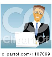 Clipart Happy Caucasian Businessman Using A Laptop Over Blue Royalty Free Vector Illustration