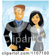 Clipart Happy Business Couple Posing With A City Background Royalty Free Vector Illustration by Amanda Kate #COLLC1107100-0177