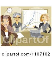 Clipart Business Women Discussing Company Growth In A Meeting Royalty Free Vector Illustration