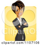 Clipart Happy Black Businesswoman With Folded Arms Over Yellow Royalty Free Vector Illustration by Amanda Kate #COLLC1107106-0177