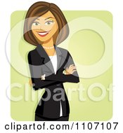 Clipart Happy Brunette Businesswoman With Folded Arms Over Green Royalty Free Vector Illustration by Amanda Kate #COLLC1107107-0177