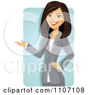 Clipart Happy Brunette Businesswoman In A Gray Suit Presenting Over A Blue Rectangle Royalty Free Vector Illustration by Amanda Kate #COLLC1107108-0177