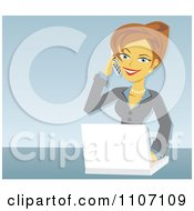 Clipart Happy Caucasian Businesswoman Talking On A Cell Phone And Using A Laptop Over Blue Royalty Free Vector Illustration