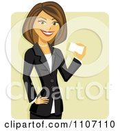 Clipart Happy Brunette Businesswoman Holding A Business Card Over Green Royalty Free Vector Illustration
