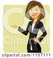 Clipart Happy Brunette Businesswoman In A Black Suit Presenting Over A Green Square Royalty Free Vector Illustration