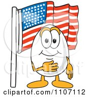 Clipart Egg Mascot Character Pledging Allegiance To The American Flag Royalty Free Vector Illustration