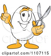 Clipart Egg Mascot Character Holding Scissors Royalty Free Vector Illustration