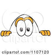 Clipart Egg Mascot Character Looking Over A Surface Royalty Free Vector Illustration by Toons4Biz