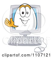 Clipart Egg Mascot Character Waving In A Computer Screen Royalty Free Vector Illustration by Toons4Biz