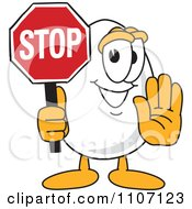 Clipart Egg Mascot Character Stop Sign Royalty Free Vector Illustration by Toons4Biz