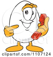 Clipart Egg Mascot Character Holding And Pointing To A Phone Royalty Free Vector Illustration by Toons4Biz