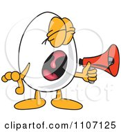 Clipart Egg Mascot Character Screaming Into A Megaphone Royalty Free Vector Illustration by Toons4Biz