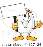 Clipart Egg Mascot Character Holding A Sign Royalty Free Vector Illustration