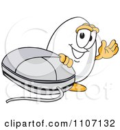 Clipart Egg Mascot Character Waving By A Computer Mouse Royalty Free Vector Illustration by Toons4Biz
