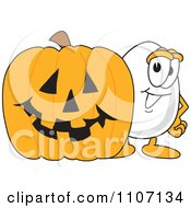 Clipart Egg Mascot Character With A Halloween Pumpkin Royalty Free Vector Illustration by Toons4Biz
