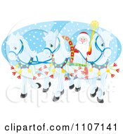 Clipart Three White Christmas Ponies Pulling Santas Christmas Sleigh Over An Oval Of Snow Royalty Free Vector Illustration by Alex Bannykh