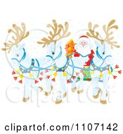 Clipart Three White Christmas Reindeer Pulling Santas Christmas Sleigh In The Snow Royalty Free Vector Illustration by Alex Bannykh