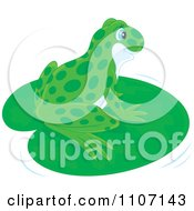 Clipart Cute Spotted Green Frog Resting On A Lily Pad Royalty Free Vector Illustration