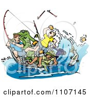 Clipart Drunk Men Fishing With An Alligator In The Boat And A Big Fish On A Hook Royalty Free Vector Illustration by Dennis Holmes Designs