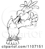 Clipart Black And White Cockatoo Holding A Thumb Up Royalty Free Vector Illustration