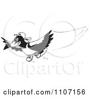 Clipart Black And White Magpie Bird Flying 1 Royalty Free Vector Illustration