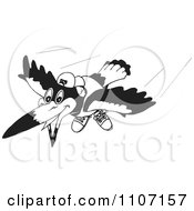 Clipart Black And White Magpie Bird Flying 2 Royalty Free Vector Illustration