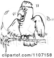 Clipart Excited Black And White Cockatoo On A Branch Royalty Free Vector Illustration