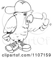 Clipart Black And White Cockatoo Holding A Thumb Up And Wearing A Hat And Shoes Royalty Free Vector Illustration