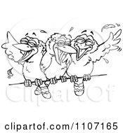 Clipart Three Black And White Kookaburra Birds Laughing On A Wire Royalty Free Vector Illustration