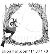 Clipart Black And White Golden Bowerbird With A Straw Frame Royalty Free Vector Illustration by Dennis Holmes Designs