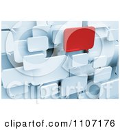 Clipart 3d Red Chat Window Standing Out From White Message Balloons Royalty Free CGI Illustration by stockillustrations