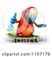 Clipart 3d Macaw Parrot Skateboarding 1 Royalty Free CGI Illustration