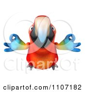 Clipart 3d Macaw Parrot Flying With Zen Fingers 1 Royalty Free CGI Illustration