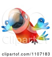 Clipart 3d Macaw Parrot Flying With Zen Fingers 2 Royalty Free CGI Illustration