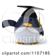Clipart 3d Penguin Graduate Pointing To The Left Royalty Free CGI Illustration