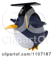 Clipart 3d Penguin Graduate Flying 2 Royalty Free CGI Illustration