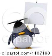 Clipart 3d Penguin Graduate With A Sign 3 Royalty Free CGI Illustration
