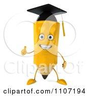 Clipart 3d Graduate Pencil Holding A Thumb Up 1 Royalty Free CGI Illustration