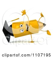 Clipart 3d Graduate Pencil Doing A Cartwheel 1 Royalty Free CGI Illustration