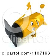 Clipart 3d Graduate Pencil Doing A Cartwheel 2 Royalty Free CGI Illustration