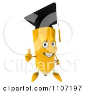Clipart 3d Graduate Pencil Holding A Thumb Up 2 Royalty Free CGI Illustration