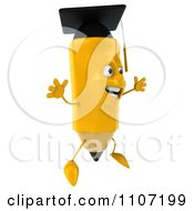 Clipart 3d Graduate Pencil Jumping 2 Royalty Free CGI Illustration