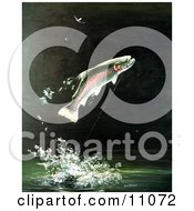 Clipart Illustration Of A Rainbow Trout Fish Jumping Out Of The Water After Biting A Fishing Hook